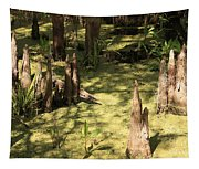 Cypress Knees In Green Swamp Tapestry
