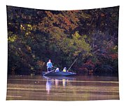 Dad And Sons Fishing Tapestry