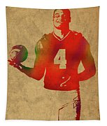 Dak Prescott Nfl Dallas Cowboys Quarterback Watercolor Portrait Tapestry