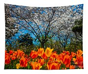 Dallas Arboretum Tulips And Cherries Tapestry