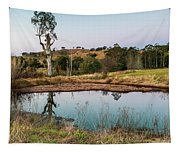 Dam At Sunset Landscape Tapestry