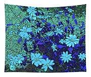 Dandy Digital Daisies In Blue Tapestry
