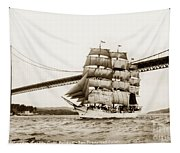 Danmark Sailing Under The Golden Gate Bridge San Francisco Tapestry