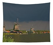 Dark Clouds Above Zaanse Schans Tapestry