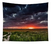Dark Clouds At Sunset Tapestry