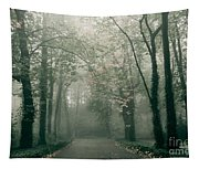 Dark Gloomy Alley In Woods Tapestry