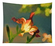 Dark Red Day Lily With Sun Shining Through I Abstract I Tapestry