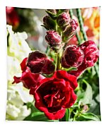 Dark Red Fancy Snapdragon Tapestry