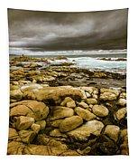 Dark Skies On Ocean Shores Tapestry