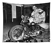 Dave On A Harley Tulare Raiders Mc Hollister Calif. July 4 1947 Tapestry