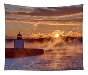 Dawn Peeking Over At Derby Lighthouse Tapestry