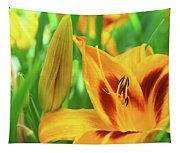 Daylily Bud And Bloom Tapestry