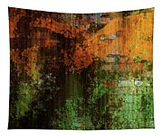 Decadent Urban Brick Green Orange Grunge Abstract Tapestry