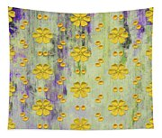 Decadent Urban Bright Yellow Patterned Purple Abstract Design Tapestry