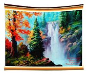 Deep Jungle Waterfall Scene L A With Alt. Decorative Ornate Printed Frame. Tapestry