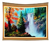 Deep Jungle Waterfall Scene L B With Alt. Decorative Ornate Printed Frame. Tapestry