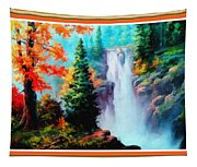Deep Jungle Waterfall Scene L B With Decorative  Ornate Printed Frame. Tapestry