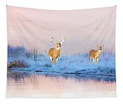 Deer At Winter Pond Tapestry