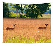 Deer In A Field Tapestry