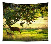 Deer In Autumn Meadow - Digital Painting Tapestry