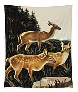 Deer In Forest Clearing Tapestry