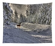Deer In Snow Tapestry
