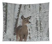 Deer In The Snow Tapestry