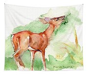 Deer Painting In Watercolor Tapestry