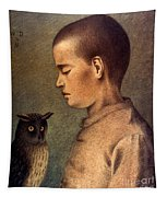 Degouve: Child & Owl, 1892 Tapestry
