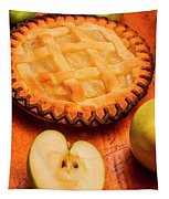 Delicious Apple Pie With Fresh Apples On Table Tapestry