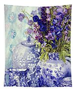 Delphiniums With Antique Blue Pots Tapestry