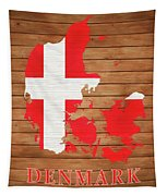 Denmark Rustic Map On Wood Tapestry