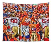 Denver Broncos Peyton Manning Oil Art Tapestry