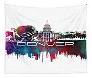 Denver Skyline City Blue Tapestry