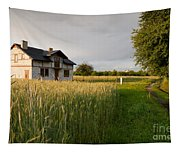Derelict Disused House In Field Tapestry