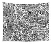 Detail From A Map Of Paris In The Reign Of Henri II Showing The Quartier Des Ecoles Tapestry