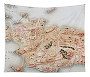 Detail Of A Map Of Rhode Island During French Occupation Tapestry