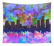 Detroit Skyline Watercolor 1 Tapestry