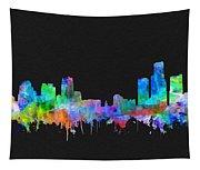 Detroit Skyline Watercolor 3 Tapestry