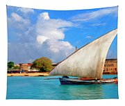 Dhow Off Zanzibar Tapestry