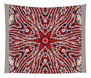 Digital Kaleidoscope Red-white 4 Tapestry