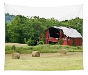 Dilapidated Old Red Barn Tapestry