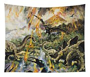 Dinosaurs And Volcanoes Tapestry