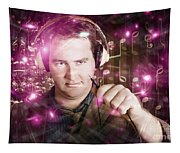 Disconnected Male Dj Holding Unplugged Audio Jack Tapestry