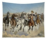 Dismounted The Fourth Troopers Moving The Led Horses Tapestry