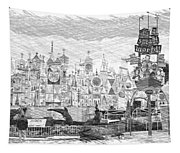 Disneyland Small World Panorama Pa Bw Tapestry