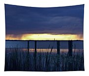 Distant Storms At Sunset Tapestry