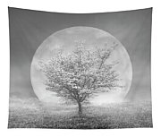 Dogwoods In The Moon Black And White Tapestry