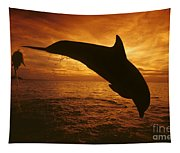 Dolphins And Sunset Tapestry