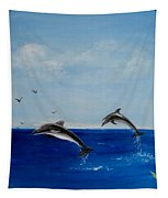 Dolphins Playing Tapestry
